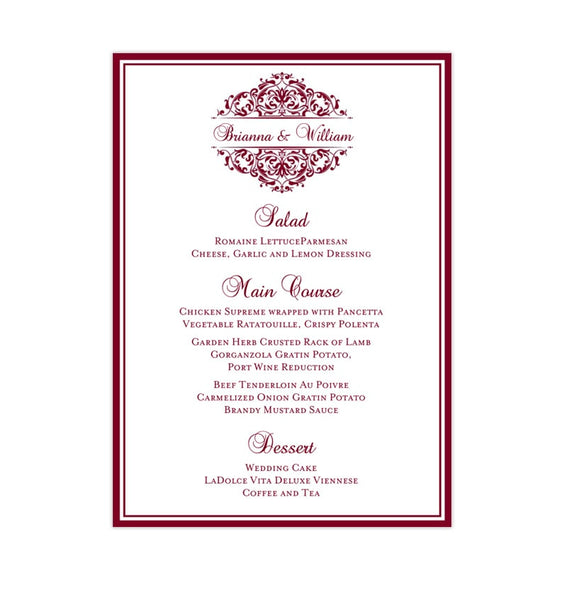 Wedding Reception Menu Template Grace Burgundy 5x7 Printable DIY