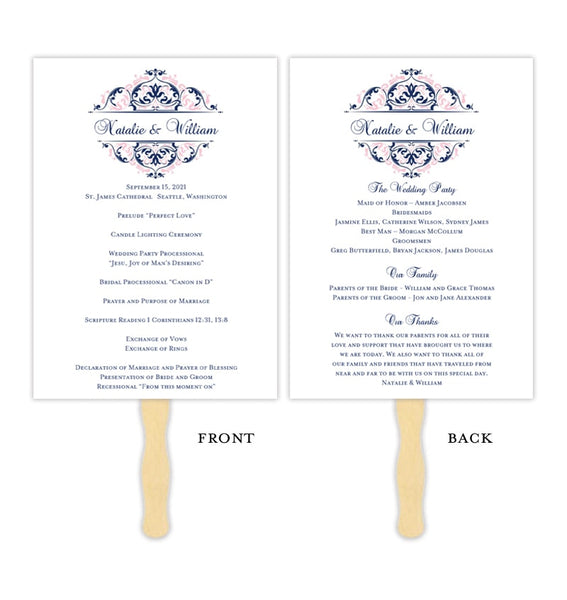 Wedding Program Fan Grace Blush Pink Navy Blue Printable DIY Template