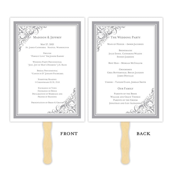 Wedding Program Fan Brooklyn Gray Printable DIY Templates