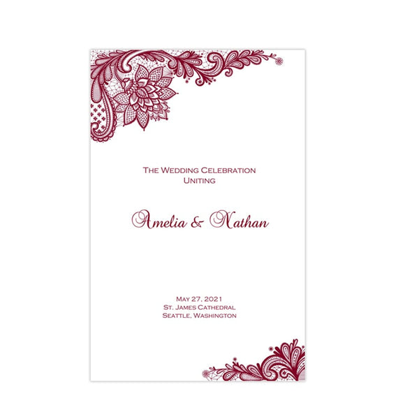Wedding Program Template Vintage Lace Burgundy Printable DIY