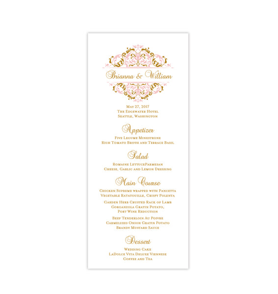 Wedding Menu Card Grace Blush Pink Gold Tea Length Printable DIY Templates