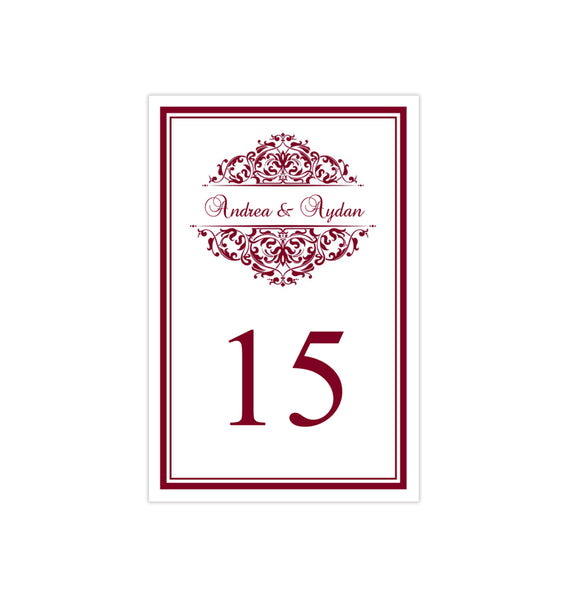 Wedding Table Number Template Grace Burgundy Flat Printable DIY