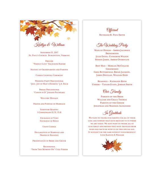 Slim Wedding Program Fall in Love Autumn Colors Printable DIY