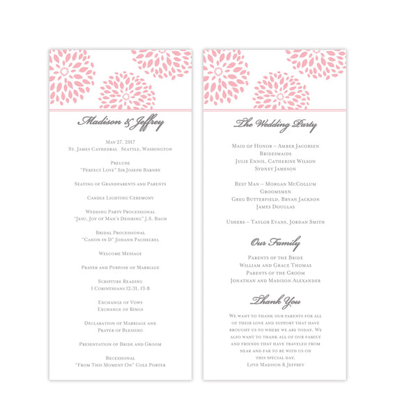 Slim Wedding Program Floral Petals Blush Pink Printable DIY