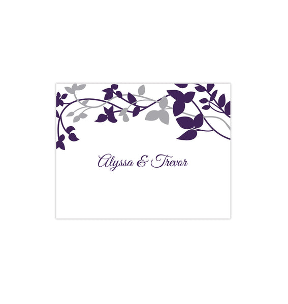 Wedding Thank You Card Forever Entwined Eggplant Silver Printable DIY Template