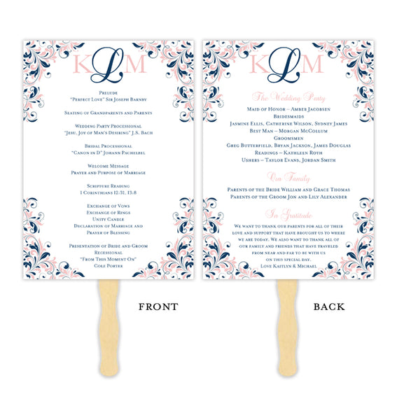 Wedding Program Fan Kaitlyn Navy Blue Blush Pink Monogram Printable DIY Templates