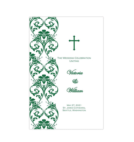 Catholic Church Wedding Program Damask Emerald Green Printable DIY