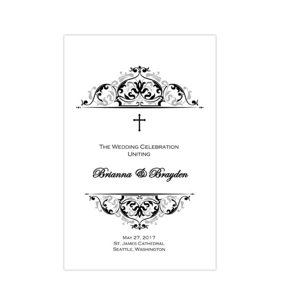 Catholic Church Wedding Program Grace Black Silver Printable DIY