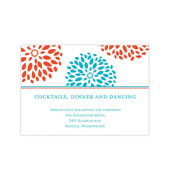 Wedding Reception Invitations Floral Petals Coral Turquoise Printable Templates