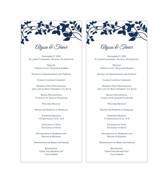 Slim Wedding Program Forever Entwined Navy Blue Printable DIY Templates