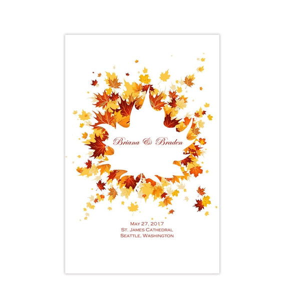 Wedding Program Template Falling Leaves Autumn Printable DIY