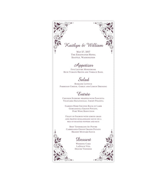 Wedding Menu Card Gianna Eggplant Purple Silver Tea Length Printable Templates