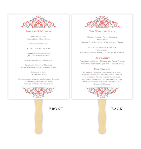 Wedding Program Fan Grace Coral Gray Printable DIY Template