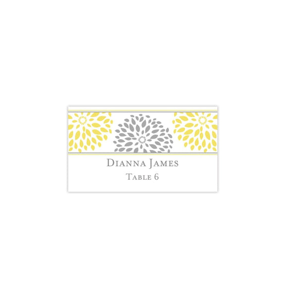 Printable Wedding Place Cards Petals Yellow Gray Flat Printable DIY Templates