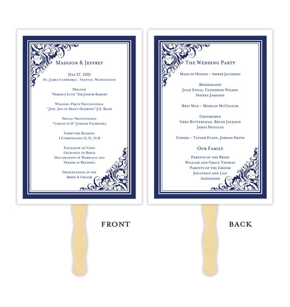 Wedding Program Fan Brooklyn Navy Blue Printable DIY Template