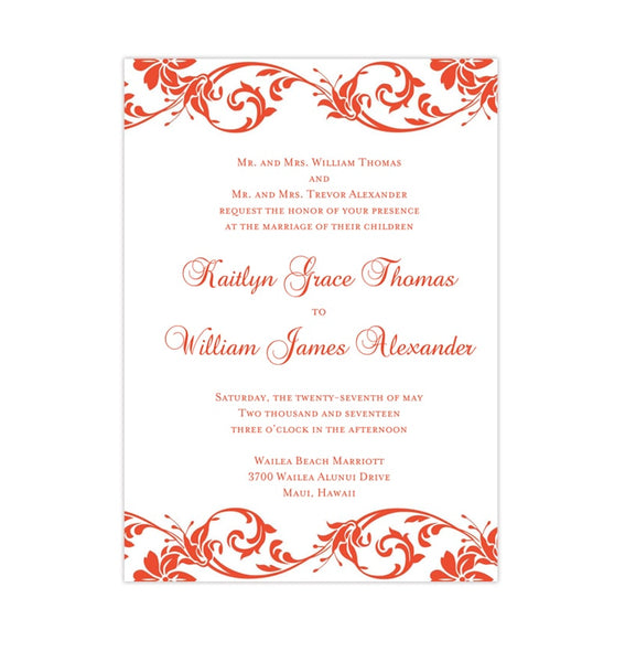 Tropical Damask Wedding Invitation Coral Printable DIY Templates