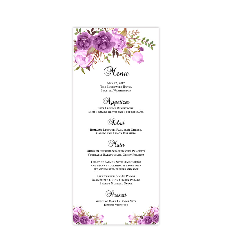 photograph about Menu Printable identified as Wedding ceremony Menu Card Passionate Blossoms Red Printable Do-it-yourself