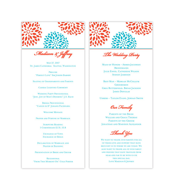 Slim Wedding Program Floral Petals Coral Turquoise Printable DIY