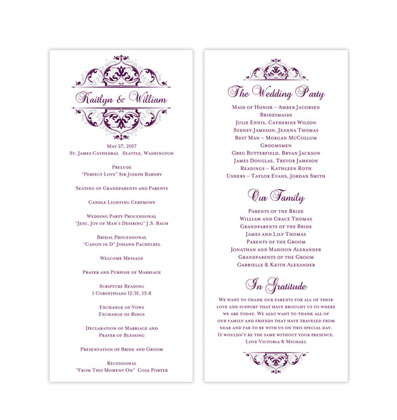Slim Wedding Program Grace Eggplant Purple Silver Printable DIY Templates