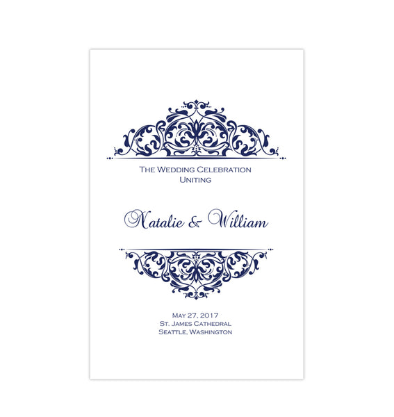 Wedding Program Template Grace Navy Blue Printable DIY