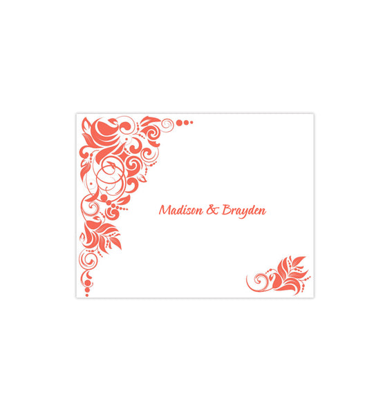 Wedding Thank You Card Gianna Orange Coral Printable DIY Template