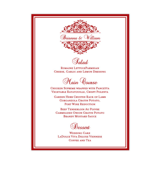 Wedding Reception Menu Template Grace Red 5x7 Printable DIY