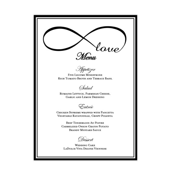 Wedding Reception Menu Template Infinity Love Black 5x7 Printable DIY