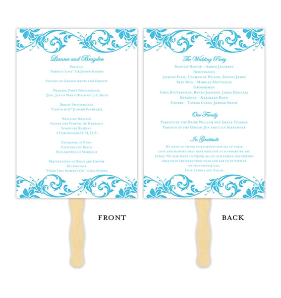 Wedding Program Fan Tropical Damask Malibu Blue Printable DIY Template