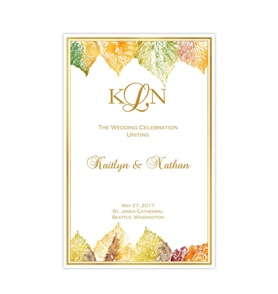 Wedding Program Template Fall in Love Autumn Colors Printable DIY