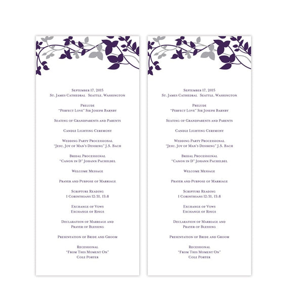 Slim Wedding Program Forever Entwined Eggplant Purple Printable DIY Templates