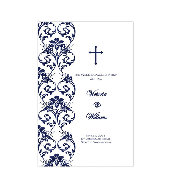Catholic Church Wedding Program Damask Navy Blue Printable DIY