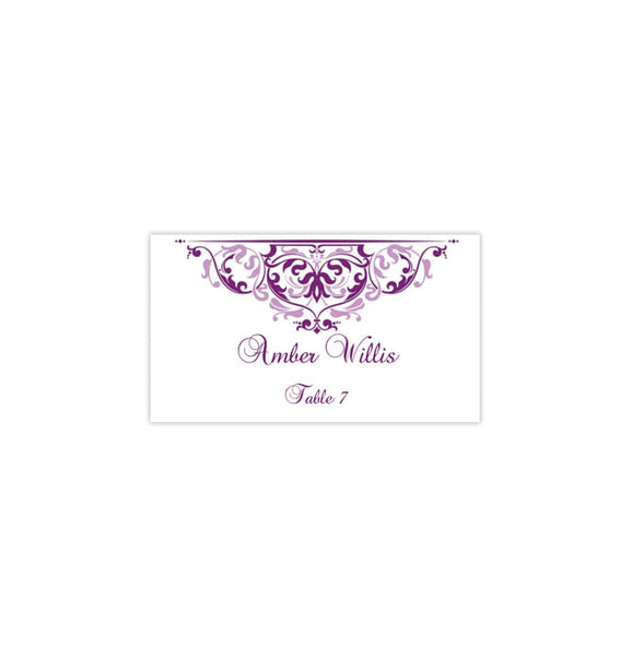 Printable Wedding Place Card Grace Plum Purple Lavender Flat DIY Place
