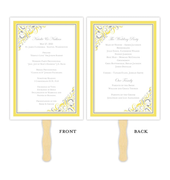 Wedding Program Fan Brooklyn Yellow Gray Printable DIY Template