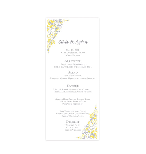Wedding Menu Card Gianna Yellow Silver Gray Tea Length Printable Templates