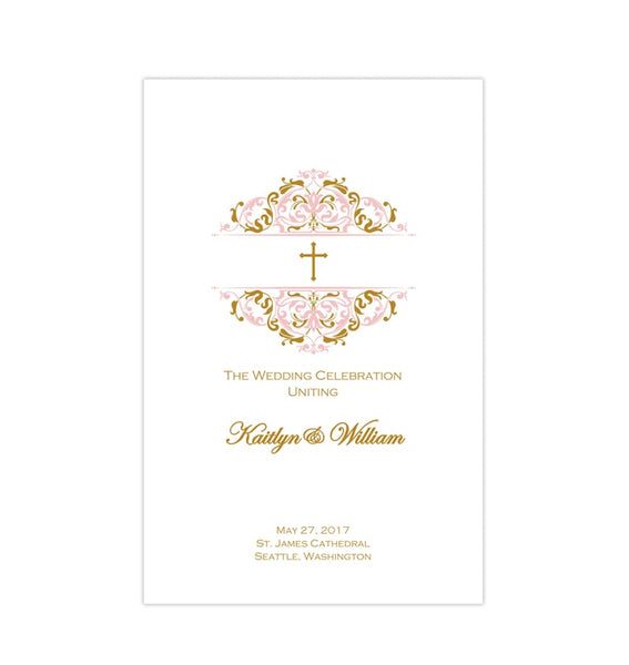 Catholic Church Wedding Program Grace Blush Gold Printable DIY