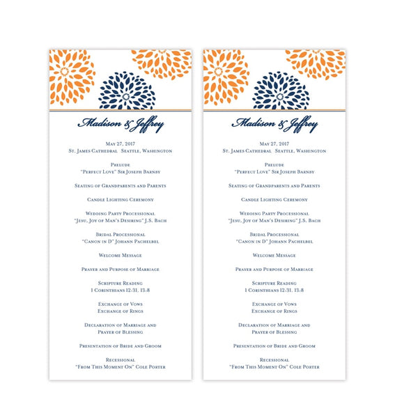 Slim Wedding Program Floral Petals Navy Orange Printable DIY