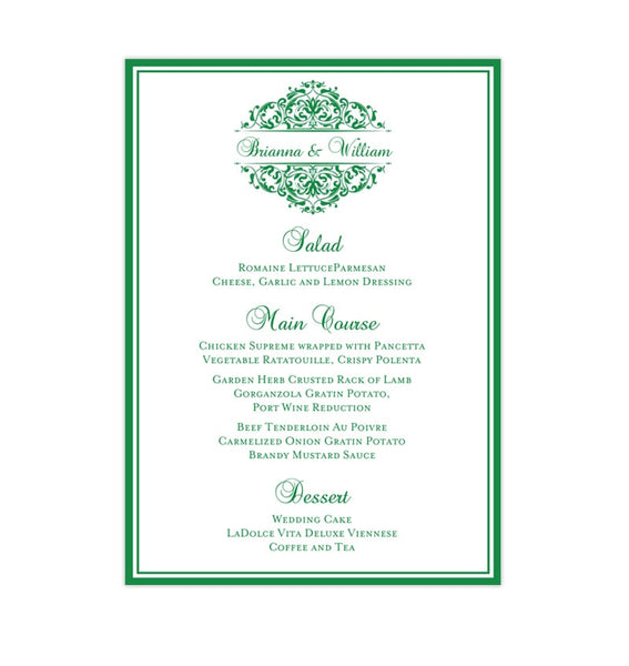 Wedding Reception Menu Template Grace Emerald Irish Green 5x7 Printable DIY
