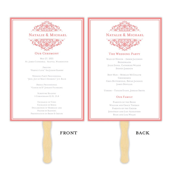 Wedding Program Fan Grace Coral Reef Printable DIY Template