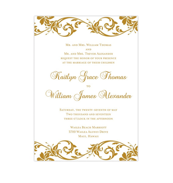 Tropical Damask Wedding Invitation Gold Printable DIY Templates