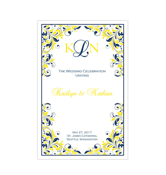 Wedding Program Template Kaitlyn Navy Blue Yellow Printable DIY