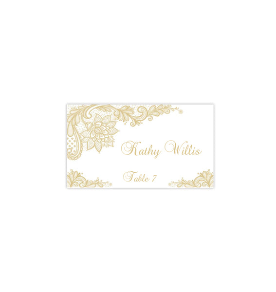 Wedding Seating Card Vintage Lace Champagne Tent Printable DIY Place