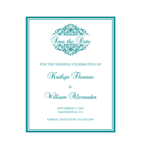 Wedding Save the Date Cards Grace Teal Printable DIY