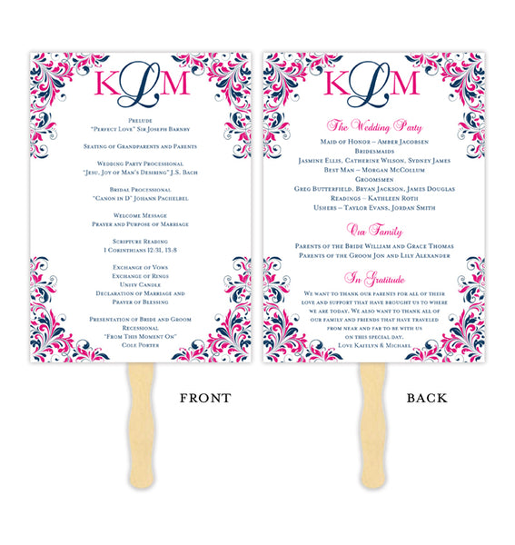 Wedding Program Fan Kaitlyn Navy Blue Hot Pink Monogram Printable DIY Templates
