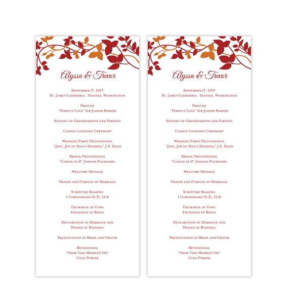 Slim Wedding Program Forever Entwined Red Orange