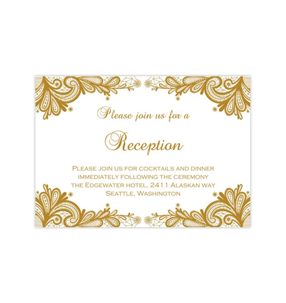 Wedding Reception Invitations Vintage Lace Gold Printable Templates
