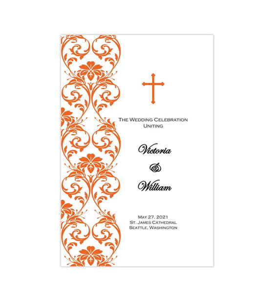 Catholic Church Wedding Program Damask Orange Printable DIY