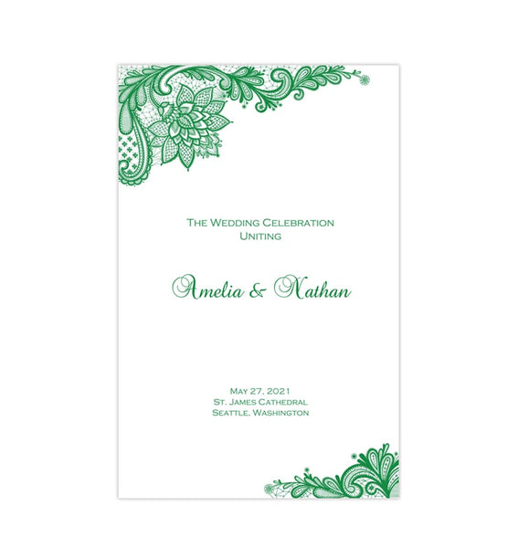 Wedding Program Template Vintage Lace Emerald Irish Green Printable DIY