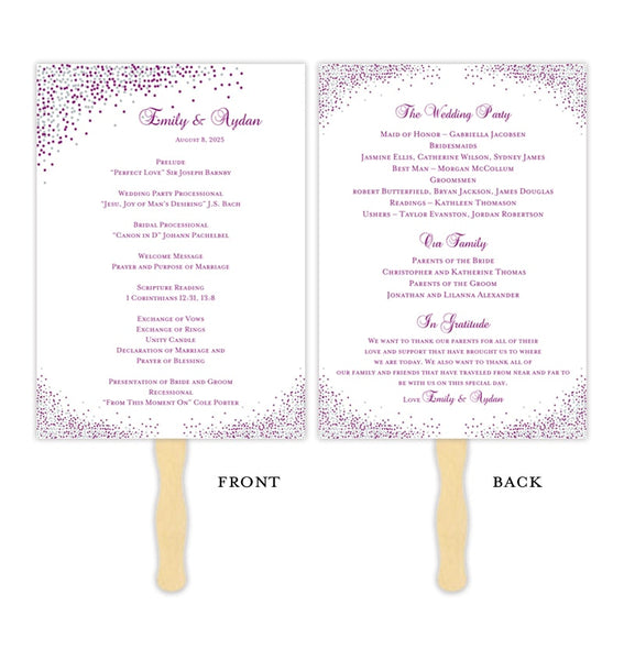 Wedding Program Fan Confetti Plum Silver Printable DIY Template