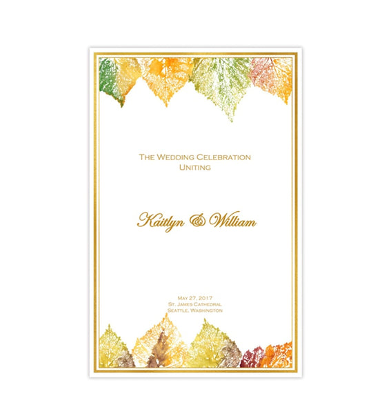 Catholic Church Wedding Program Fall in Love Gold Order of Service Printable DIY