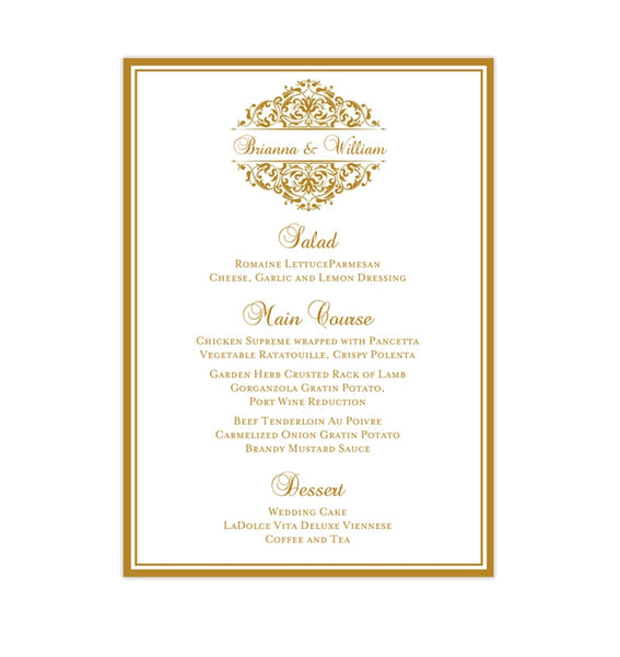 Wedding Reception Menu Template Grace Gold 5x7 Printable DIY